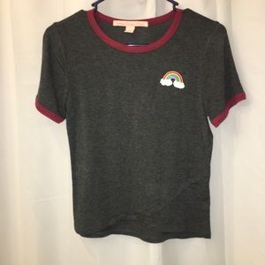 Rainbow patch cropped T-shirt